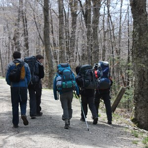 high school students hiking